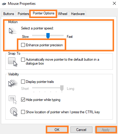 Turn off mouse acceleration on Windows 7 and 8