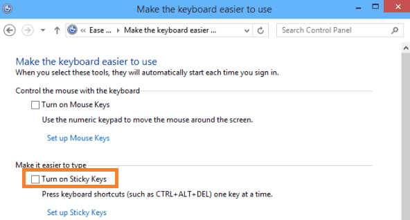 Turn on Sticky Keys
