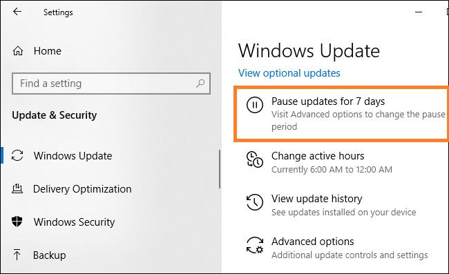 Pause Windows Update