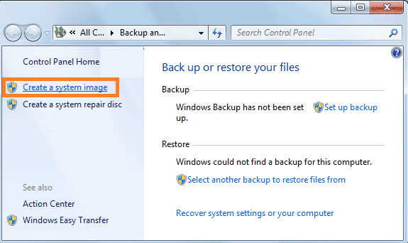 Tap on Create a system image Windows 7