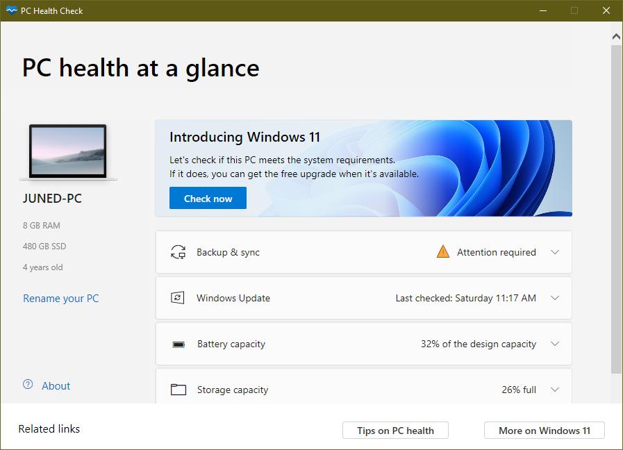 check windows 11 compatibility pc health check