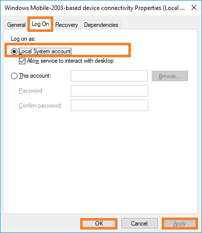 select Local System account