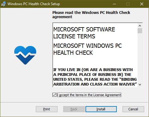 windows pc health check setup