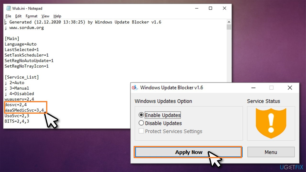 Disable Waasmedic using Windows Update Blocker