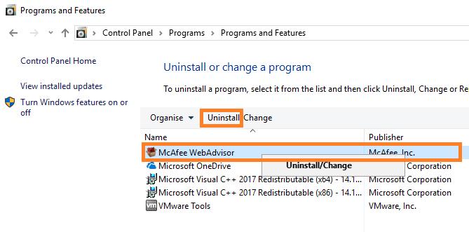 Hit on Uninstall option