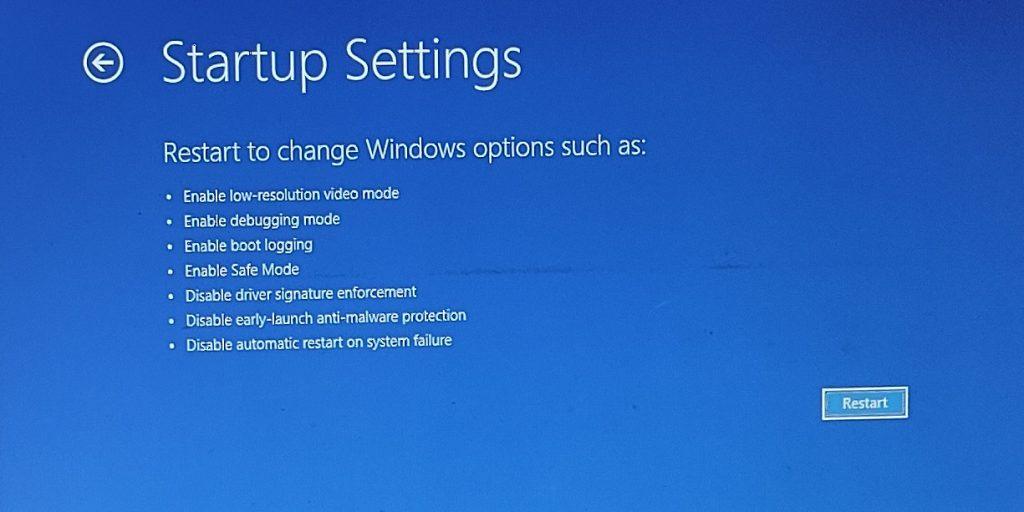 startup settings windows 11