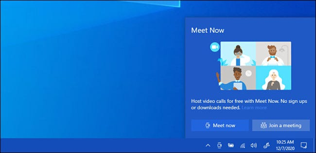 Remove Meet Now from Windows 10 Taskbar