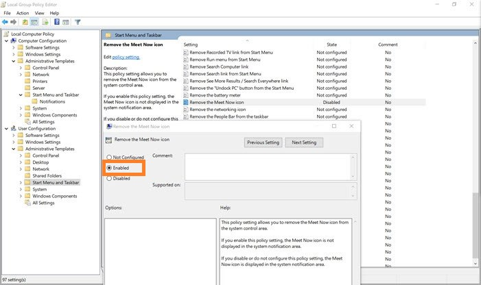 Remove Meet Now using Group Policy Editor