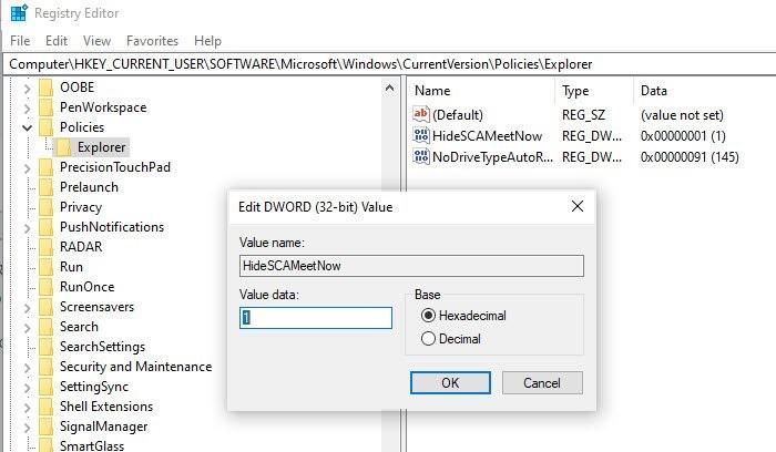 Remove Meet Now using Registry Editor