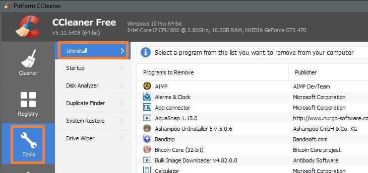 Remove Microsoft New using CCleaner