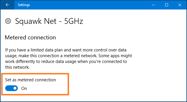 Set your Internet connection to Metered connection