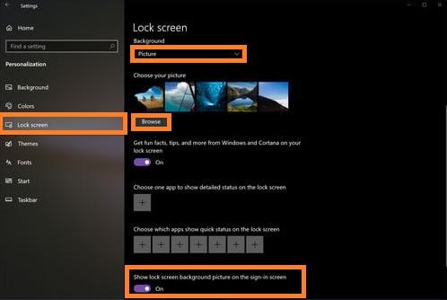Windows 10 login background
