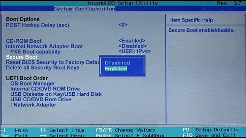 enable secure boot from bios