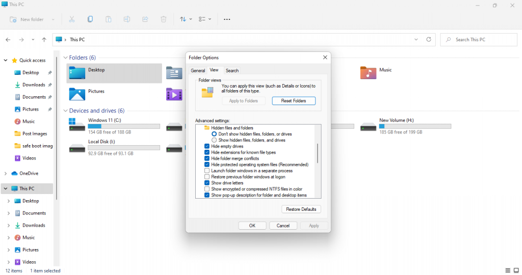 folder options windows 11