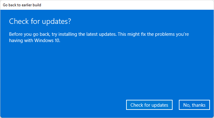 go back to windows 10 check for updates
