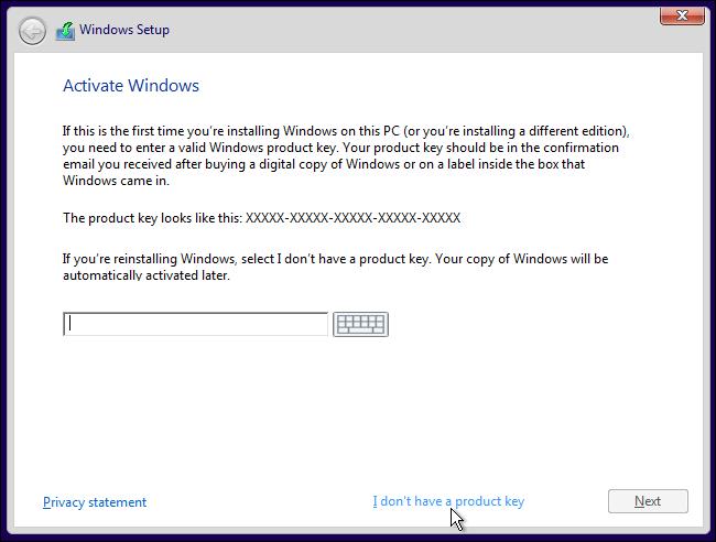 i do not have product key windows 10