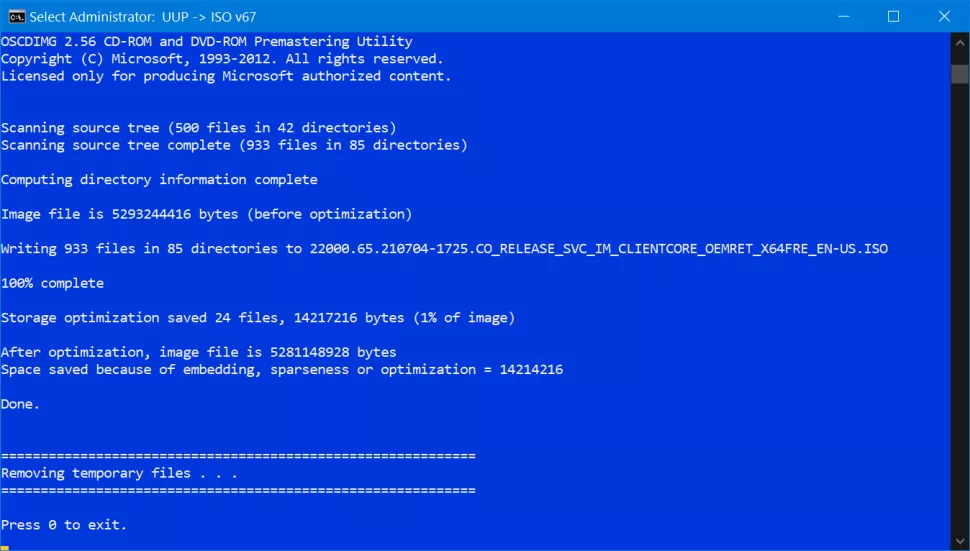 press 0 to exit windows 11 iso file