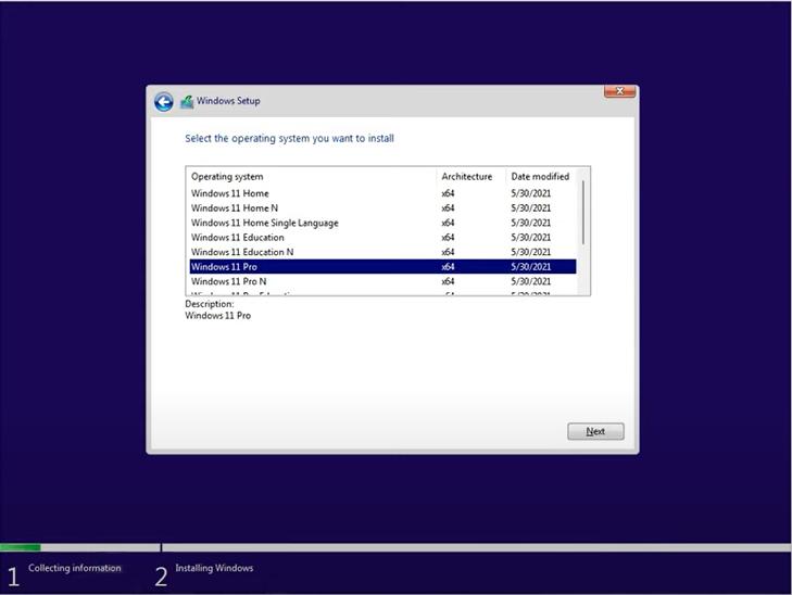 select windows 11 pro virtual box