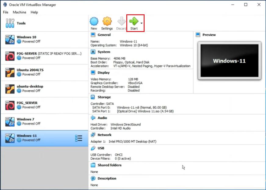 start windows 11 virtualbox