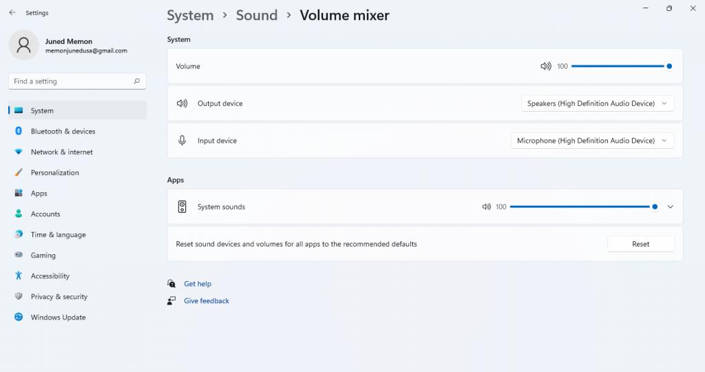 volume mixer windows 11 settings