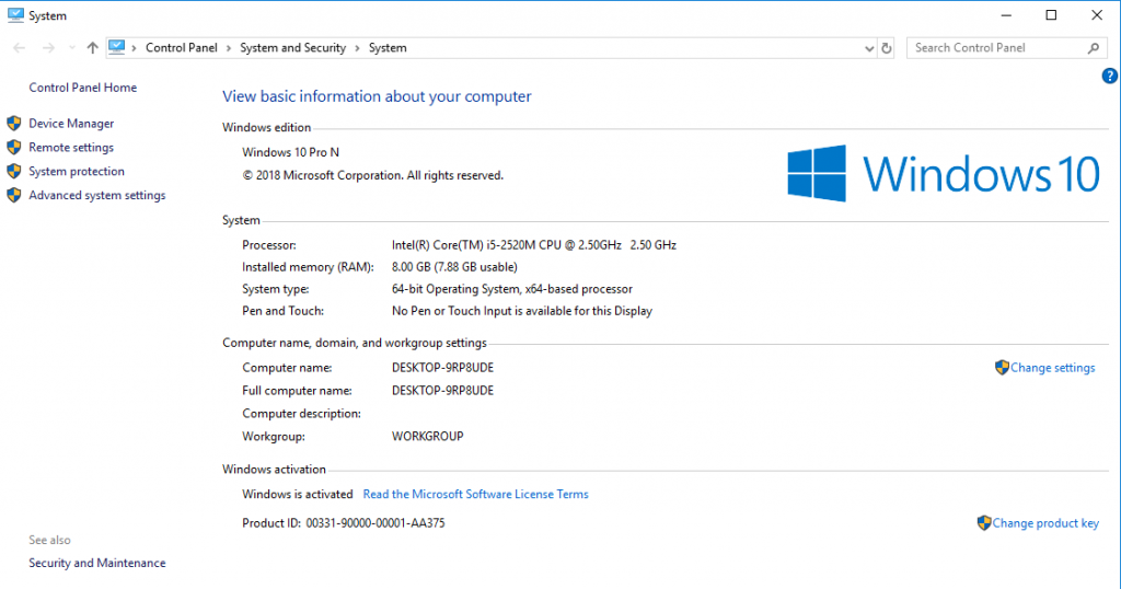 windows 10 is activated this pc properties