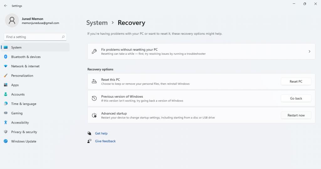 windows 11 recovery settings