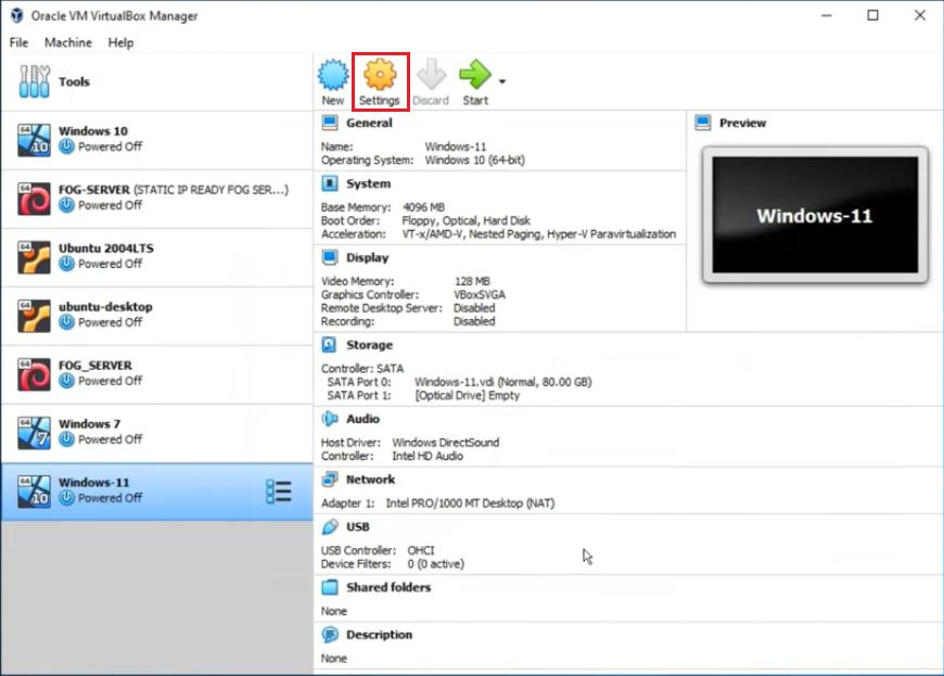 windows 11 settings virtualbox