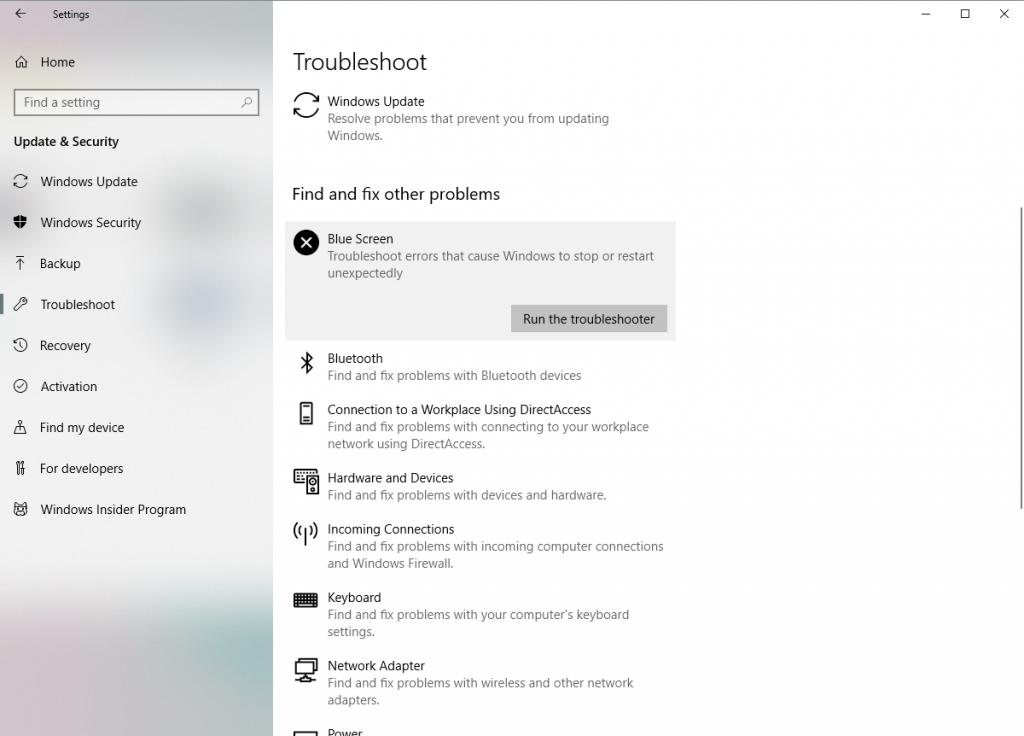 bsod troubleshooter windows 10 settings