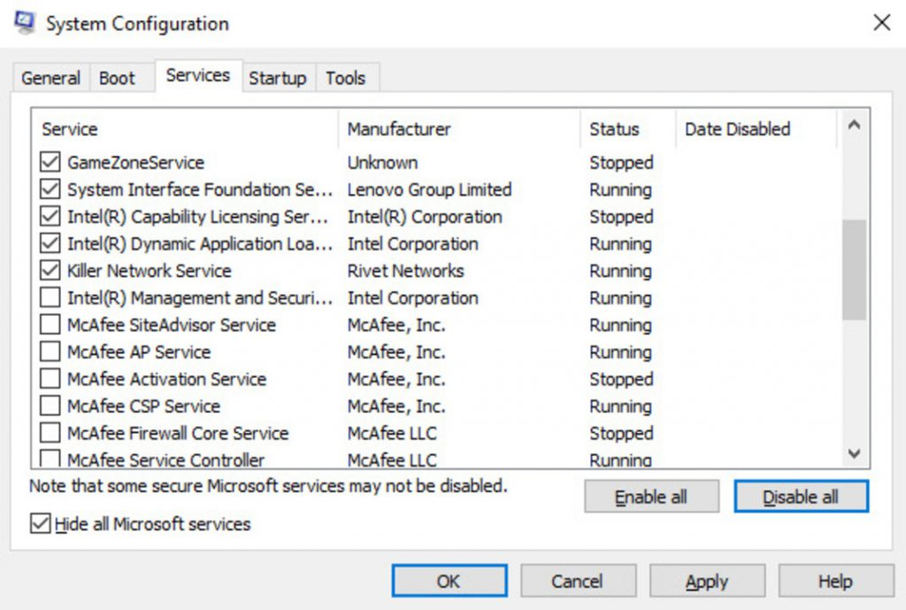 system configuration disable all services