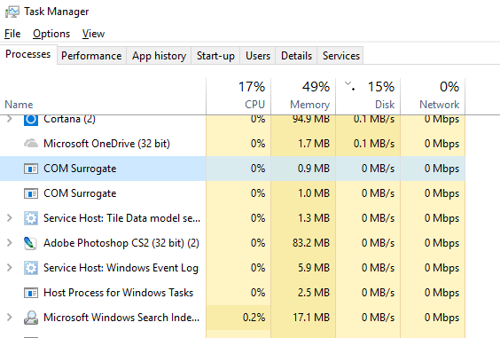 What is COM Surrogate in Windows 10 Task Manager