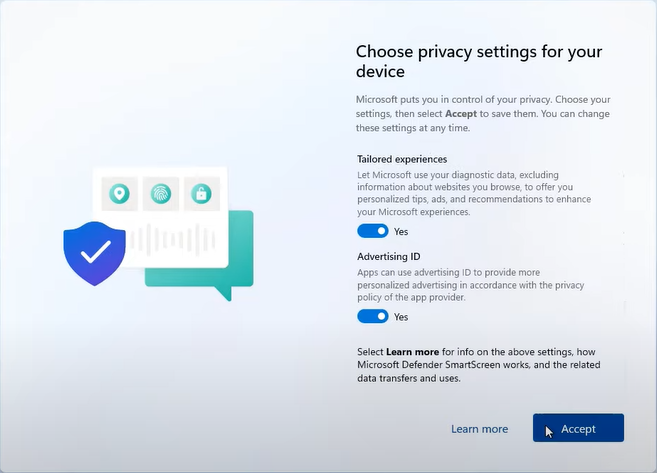 accept windows 11 privacy settings