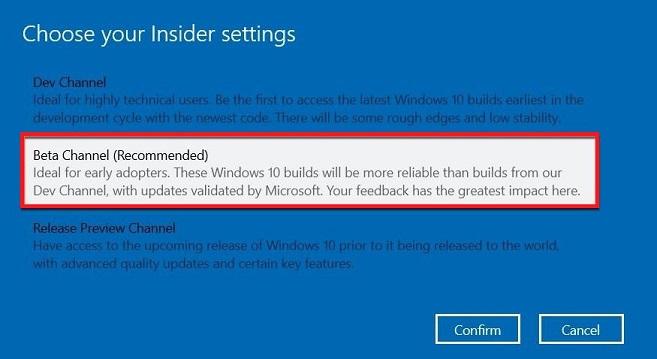 beta channel windows insider program