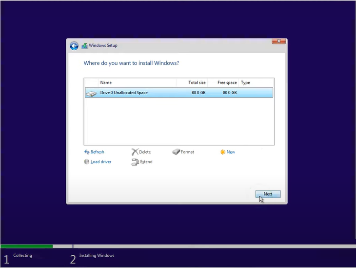 choose drive to install windows 11 iso
