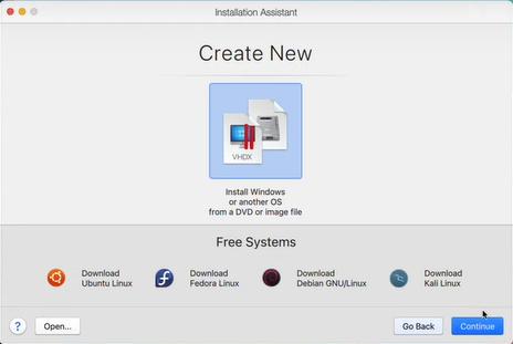 create new windows installation parallels