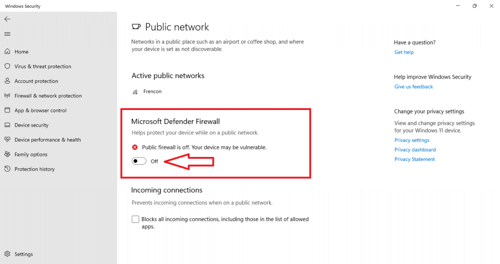 disable windows defender firewall windows 11