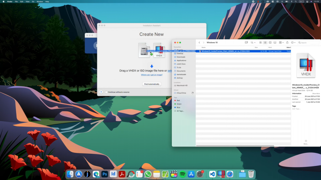 drag windows iso parallels