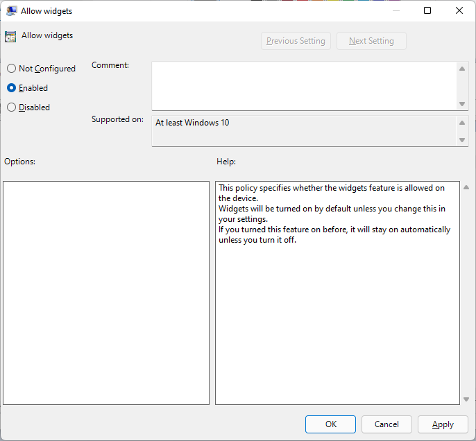 enable widgets windows ``