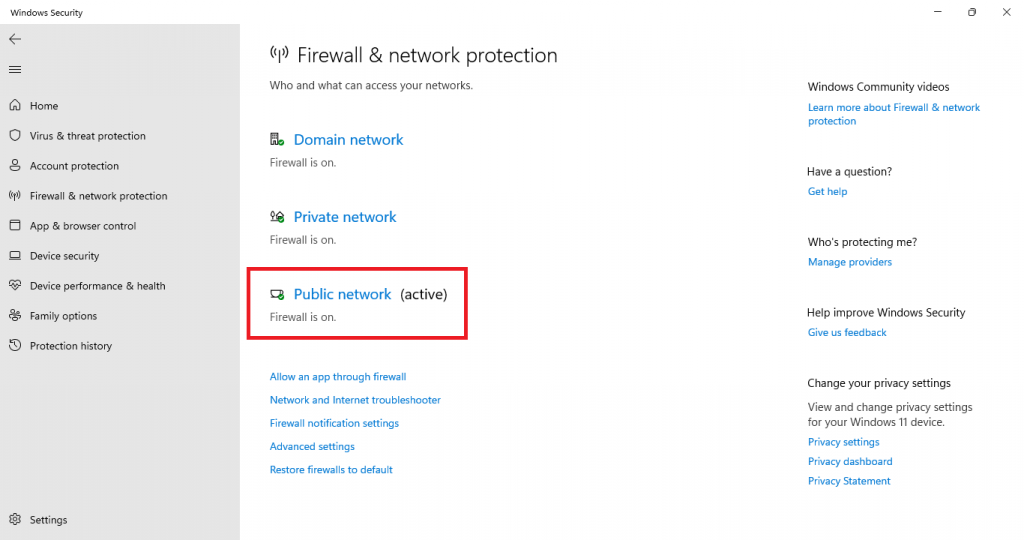 firewall and network protection public network