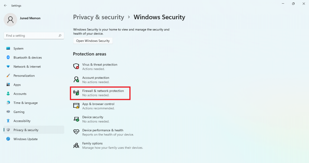 firewall and network protection windows 11 settings