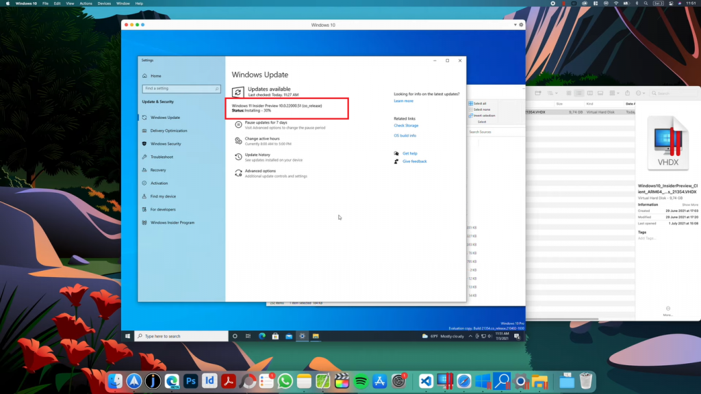 mac windows 11 update installing