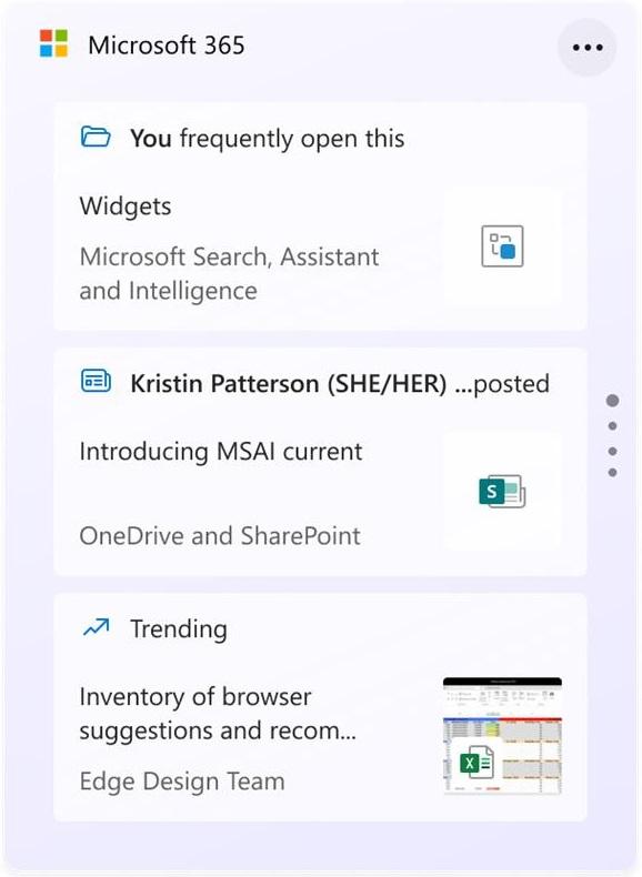 microsoft 365 widget