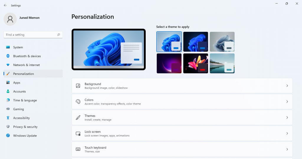 personlization windows 11