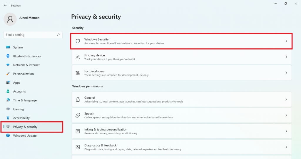 privacy and windows security windows 11