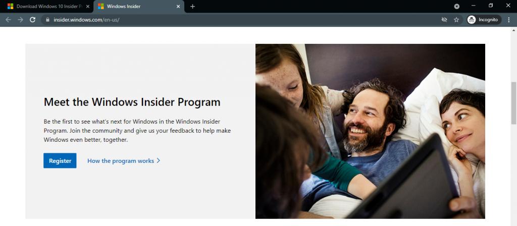register windows insider program web