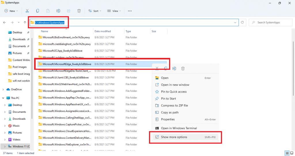 select microsoft edge folder widnows 11