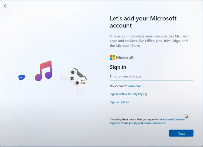 sign in opitons local account windows 11