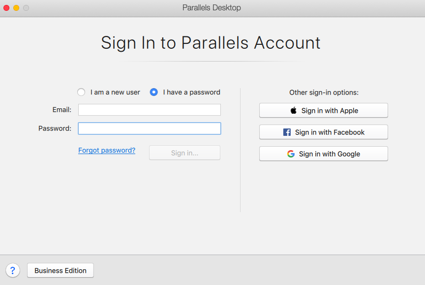 sign in parallels
