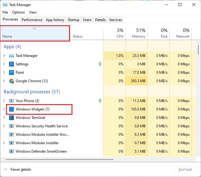 task manger windows widget
