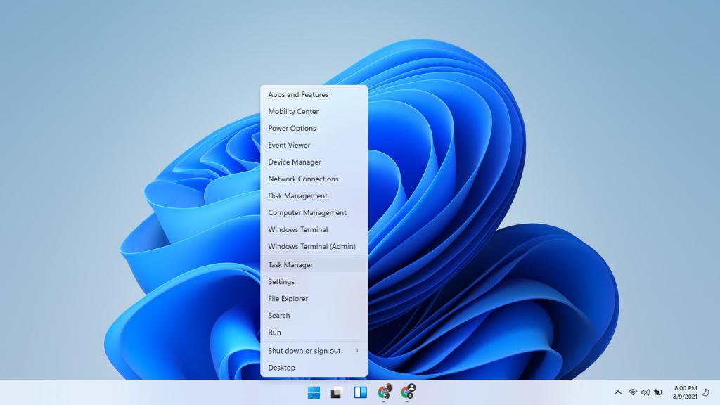 taskbar menu task manager