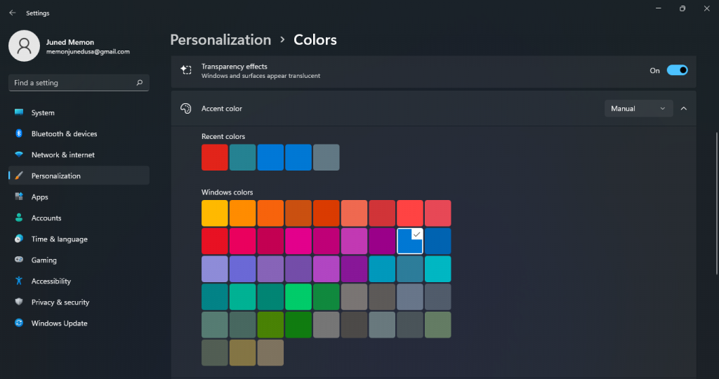 transparency effects accent color windows 11